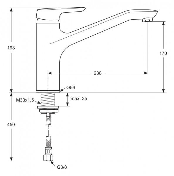 Ideal Standard CeraMix Blue Einhebel-Küchenarmatur B9612AA | WLT 24
